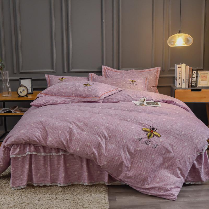 艾迪尚家纺 铂金棉绣花四件套床单款 卡洛斯