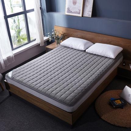 棕康垫业 2019新款全棉床褥方格系列 方格-深灰