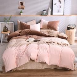 知品家纺 水晶绒毛巾绣拼接四件套床单款 雅趣