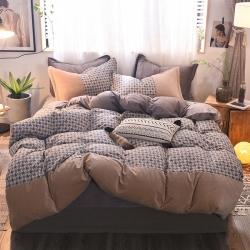 知品家纺 新款棉加绒四件套床单款 千鸟格-驼