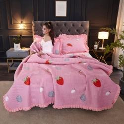 (总)海棠 2019新款水晶绒床盖三件套