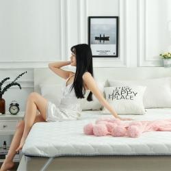攸選 2019新款單邊針織棉床墊 白藍 厚度10cm