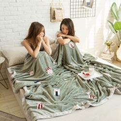 (总)柠栀毯业 法莱绒AB版印花毛毯加厚珊瑚绒毛毯秋冬季