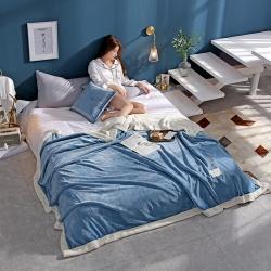 (总)柠栀毯业 贝贝绒拼法莱绒毛毯沙发毯午睡毯双人