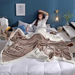 柠栀毯业 贝贝绒拼法莱绒毛毯沙发毯午睡毯双人 B浅咖色