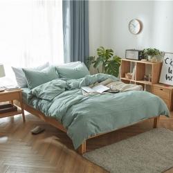尚品本色 2019新款无印良品水洗棉四件套 床单款 草绿