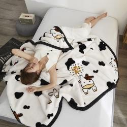 绒朵 2019新款拉舍尔毛毯 黑白奶牛