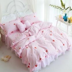 淑女公社 2018春夏草莓火鸟十字3色床裙款四件套 草莓女孩