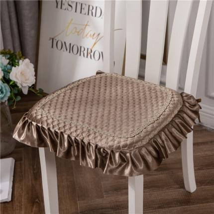 哈创家居 金丝绒餐椅垫 咖色