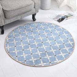 豪舒服 新款地墊地毯墊子雪尼爾地墊圓形地墊AA0776藍色