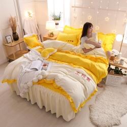布可家纺 韩版夹棉床裙刺绣系列四件套---一生所爱 寻梦