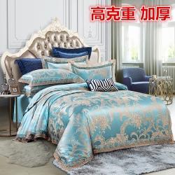 (總)金維軒 2019歐式蕾絲花邊貢緞提花四件套床單款
