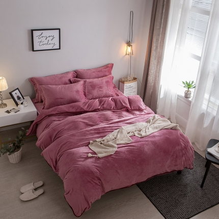 (总)爱思凯 水晶绒素色夹棉床笠四件套