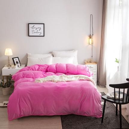 爱思凯  水晶绒素色单被套粉红色