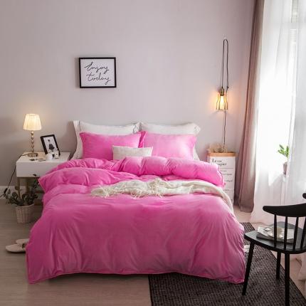 爱思凯 水晶绒素色夹棉床笠四件套 粉红色
