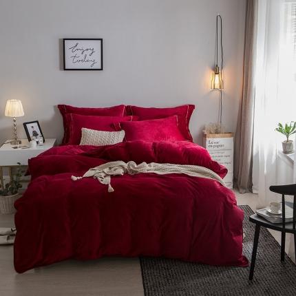 爱思凯 水晶绒素色夹棉床笠四件套 酒红色