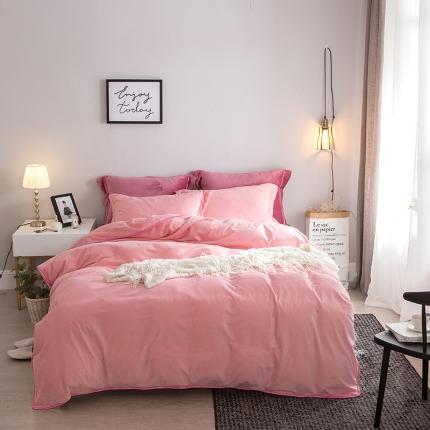 爱思凯 水晶绒素色夹棉床笠四件套 玉色