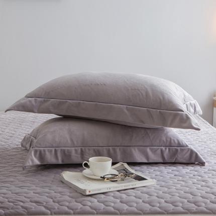 爱思凯 水晶绒素色单品枕套一对 灰色