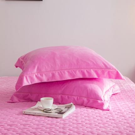 爱思凯 水晶绒素色单品枕套一对 粉红色