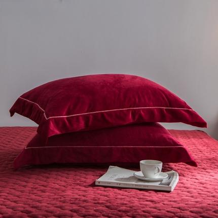 爱思凯 水晶绒素色单品枕套一对 酒红色