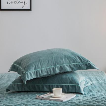爱思凯 水晶绒素色单品枕套一对 墨绿色