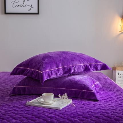 爱思凯 水晶绒素色单品枕套一对 深紫色