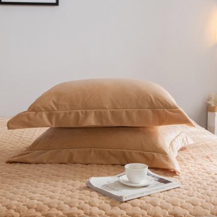 爱思凯 水晶绒素色单品枕套一对 驼色