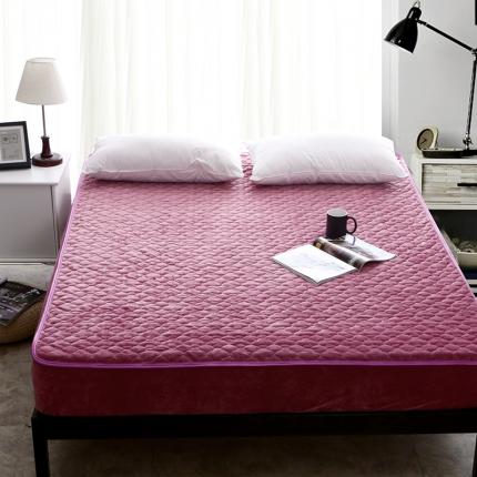 爱思凯 水晶绒素色单品夹棉床笠 豆沙