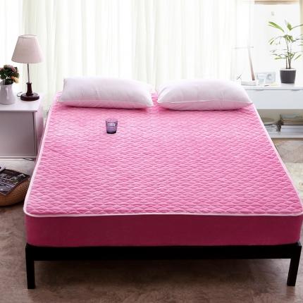 爱思凯 水晶绒素色单品夹棉床笠 粉红色