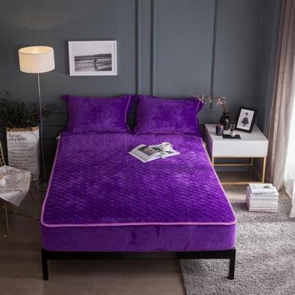 爱思凯 水晶绒素色单品夹棉床笠 深紫色