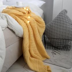 KH家纺  2019新款针织毯子线毯罗琦毛毯 鹅黄色