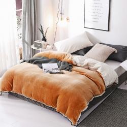春妮家紡 法蘭絨多功能兩用毛毯被套 橙黃