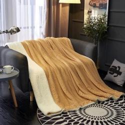 春妮家紡 A版魔法絨B版羊羔絨雙面保暖蓋毯 白底橙黃