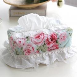 清仓 布艺欧式蕾丝花边田园风纸巾盒套 可做赠品