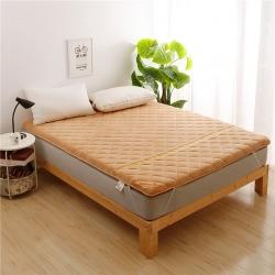 天艺床垫 珊瑚绒竹炭加厚款床垫驼色