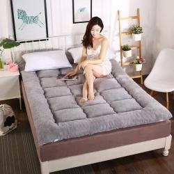 冬季保暖加厚床褥 羊羔绒床垫 单双人榻榻米折叠软垫褥子灰色