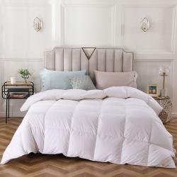 coco house 100支全棉緞紋白鵝絨被 白色