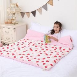 心卓婴童馆 婴幼儿棉纱豆豆被/毯双层纱被子儿童被毯子甜心草莓
