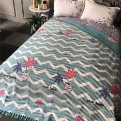 小米家 新款多功能水晶绒纯棉床盖密道绗缝被2米  波浪枫叶