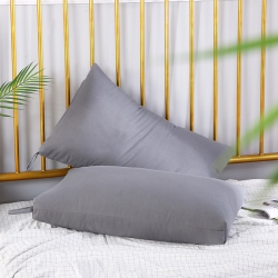 优派枕头枕芯重磅斜纹磨毛可水洗护颈保健枕48*74cm 灰色