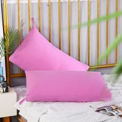 优派枕头枕芯重磅斜纹磨毛可水洗护颈保健枕48*74cm粉红色