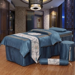 億非達 回字格美容床罩 藏青色