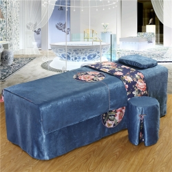 紫梦宣家纺 大观园美容床罩 大观园深蓝