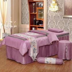 紫梦宣家纺 回字格美容床罩 玫红色