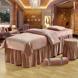 紫梦宣家纺 水晶绒系列加糖果枕美容床罩 灰色