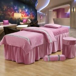 紫梦宣家纺 水晶绒系列加糖果枕美容床罩 粉红色