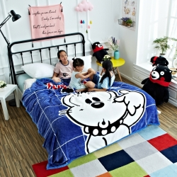 童年 法莱绒毛毯-可爱小巴