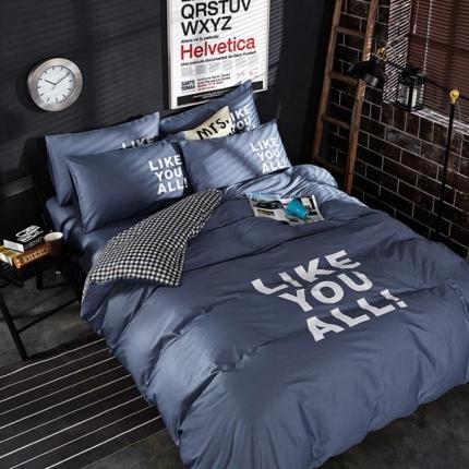 (总)6号家纺 新款13372全棉纯色四件套床笠款