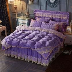 欧陆风情-水晶绒刺绣床裙式四件套+床裙