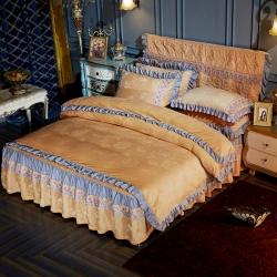 牡丹凝香-水晶绒剪花床裙式四件套+床裙